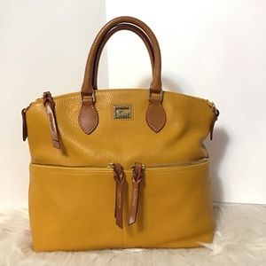 Dooney double pocket satchel leather palomino